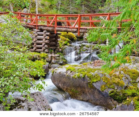 Red bridge and mountain river on Remote Camp trail at Stein Valley Heritage Park in British Columbia, Canada.