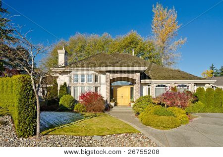 Luxury house at Fall sunny day in Vancouver, Canada.