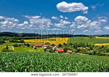 Beautiful Green Village Scenery Landscape In Spring Time Iii