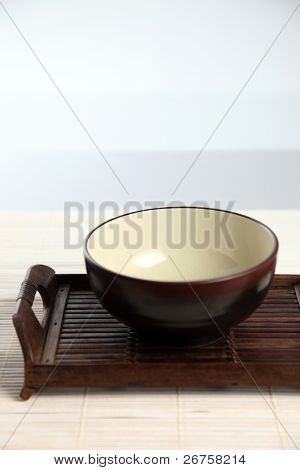 shot of the bowl on the tray
