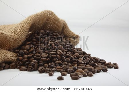coffee bean pour out from the sack bag
