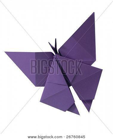 trazado de recorte de papel se dobla en una mariposa.