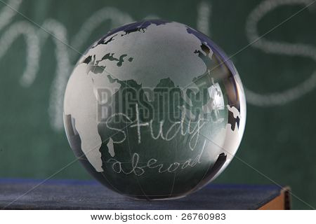 glass globe on the book