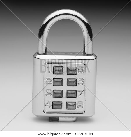 combination lock on the plain color background