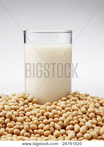 stock image of the glass of the soybean drink