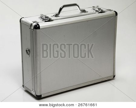 silver brief case on the plain background