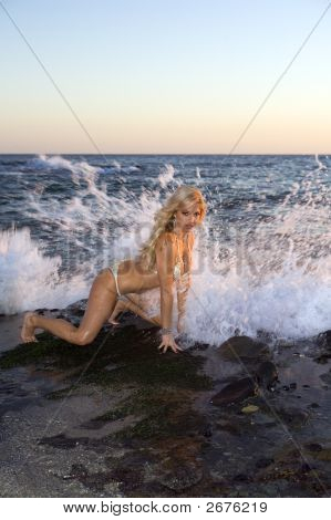 Blond Woman In Bikini On Rocks