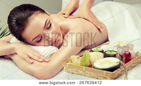 poster of Massage And Body  Care. Spa Body Massage   Woman Hands Treatment. Woman Having Massage In The Spa Sa