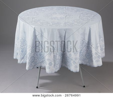 A round table covered with a table cloth