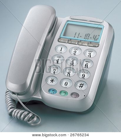Modern digital  IP phone isolated on plain background with clipping path.