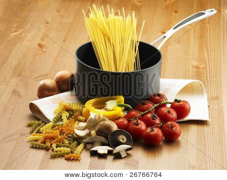 Stock image of speghetti's ingredients.