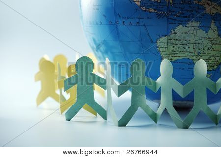 Paper chain surrounding the globe.