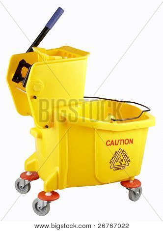 stock image  of the mop bucket on the plain color background