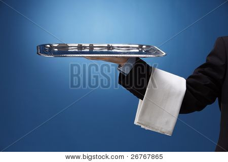 stock image of the waiter with tray