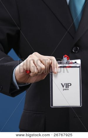 Stock image of name tag hung on human's neck.