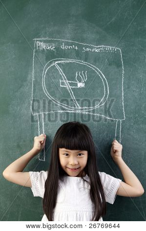 girl pretend holding a no smoking sign on black board