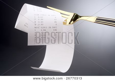 fork with the receipt on it