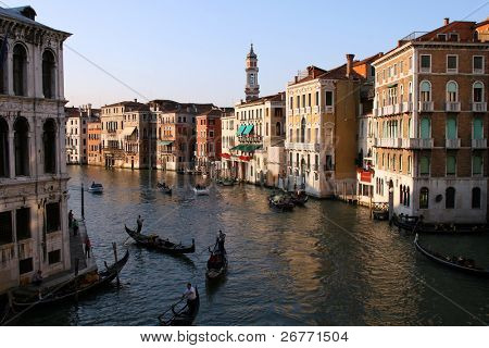 Venice Grand canal at sunset