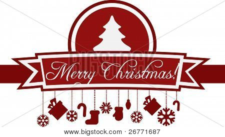 Red Christmas Card Template with Christmas Tree