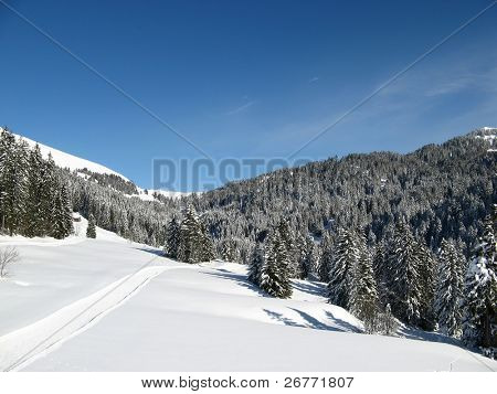 Winter hiking route near Amden (Switzerland)