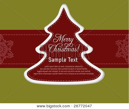 Christmas Card Template with Christmas Tree