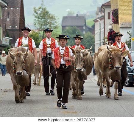 URNAESCH - SEPTEMBER 20: Traditional folk festival on September 20, 2008 in Urnaesch, Appenzell, Switzerland.