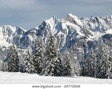 Winter in the swiss alps (Flumserberg, St.Gallen, Switzerland)