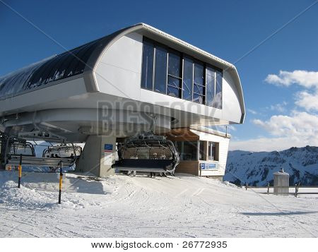 Upper station of the ski chairlift