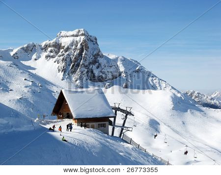 Upper station of the skiing lift in Flumserberg, Switzerland