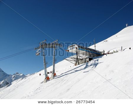Upper station of the skiing lift