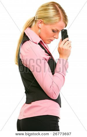 Sad Modern Business Woman Holding Mobile Near Forehead