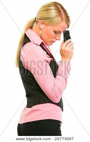 Sad Modern Business Woman Holding Mobile Near Forehead