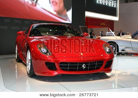 GENEVA - MARCH 7: Ferrari  599XX on display at the 79th International Motor Show Palexpo-Geneva on March 7; 2009.