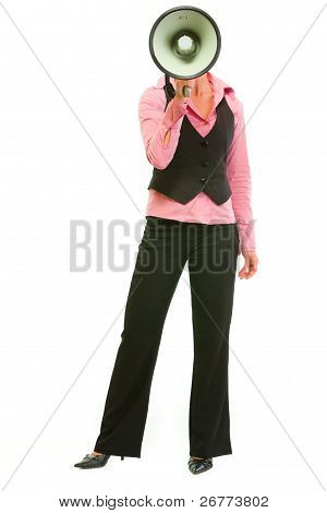 Modern Business Woman With Megaphone In Front Of Head