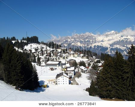 Small village in alps (Flumserberg, St. Gallen, Switzerland)