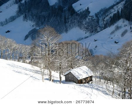 Small cottage in alps (Elm, Glarus, Switzerland)