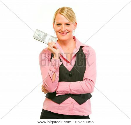 Smiling Modern Female Business Secretary Holding Dollars Pack