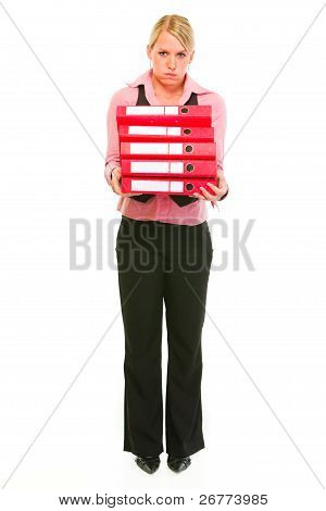 Tired Female Business Secretary Holding Folders Stack