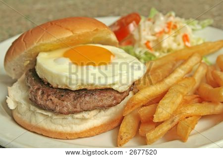 Egg Burger With Side Dishes