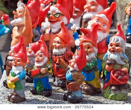 Crowd of colorful dwarf figures