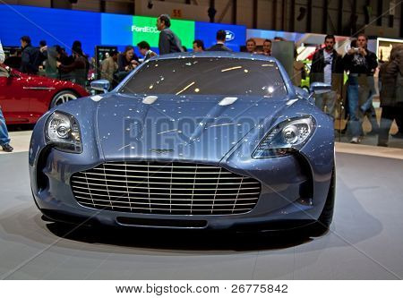 GENEVA - MARCH 7: Aston Martin stand on display at the 79th International Motor Show Palexpo on March 7, 2009 in Geneva, Switzerland.