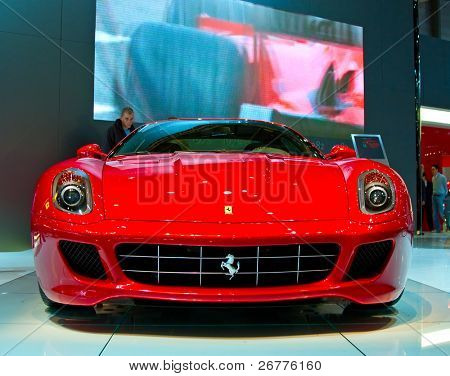 GENEVA - MARCH 7: Ferrari 599XX on display at the 79th International Motor Show Palexpo on March 7, 2009 in Geneva, Switzerland.