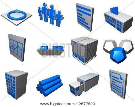 Logistics Process Icons For Supply Chain Diagram In Blue Gray