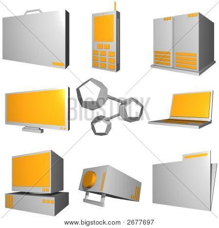Information Technology Business Industry Icons Set - Gray Orange