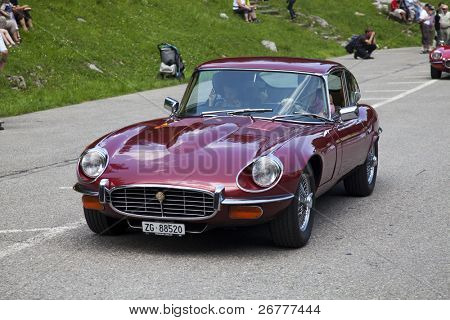 SCHWAEGALP - JUNE 27:  Old racing Jaguar car on the 7th International