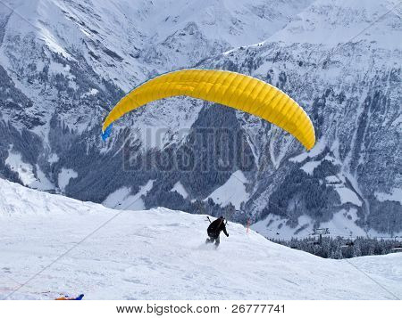 Paragliding in swiss alps near Elm, Switzerland