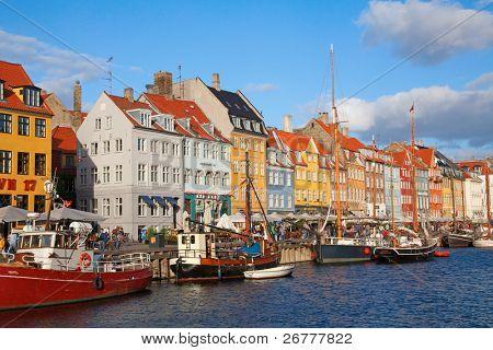 Nyhavn district of the Copenhagen city (Denmark)