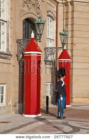 COPENHAGEN - AUGUST 26: The Royal Guard near Amalienborg palace in Copenhagen, Denmark, on August 26, 2010. Amalienborg - the winter home of the Danish royal family