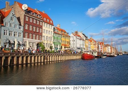 Copenhagen (Nyhavn district) in a sunny summer day