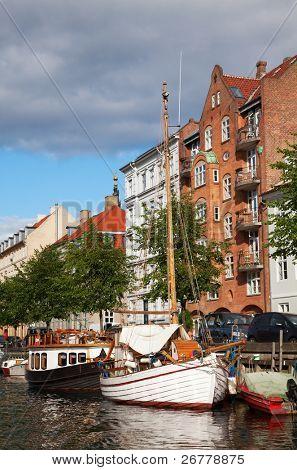 Copenhagen (Nyhavn district) in a sunny summer day
